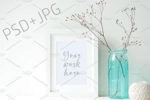 蓝色主点缀办公场景样机模板 Blue stock photo bundle插图6