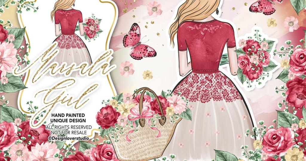 漂亮女孩水彩花卉插画婚礼设计素材 Marsala Girl design插图
