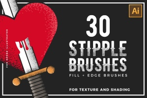 30款点画效果设计AI笔刷 Stipple Brushes For Illustrator插图(1)