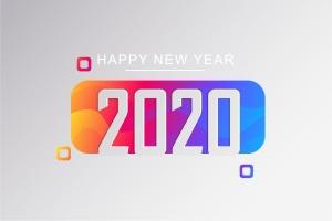 2020新年数字彩色矢量设计图形素材 2020 Happy New Year Greeting Card插图7