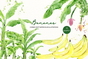 水彩香蕉&香蕉树手绘插画PNG素材 Watercolor Banana Illustration插图1