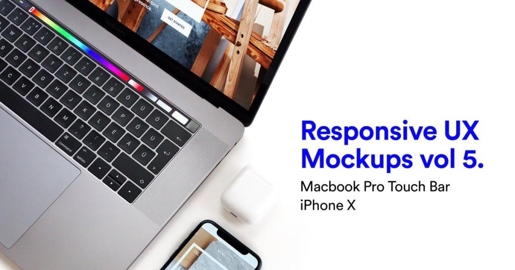 响应式页面设计MacBook Pro和iPhone X样机模板v5 Responsive Mockup Macbook Pro & iPhone X Vol 05插图