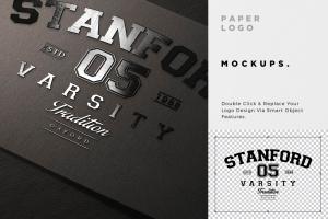 Logo设计印刷效果预览样机模板 Paper Logo Mockups插图5
