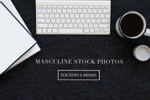 iPad办公场景样机模板 Masculine Stock Photos + iPad Mockup插图1