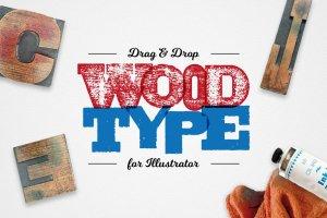 木刻印刷AI字体样式 Drag & Drop WoodType for Illustrator插图1