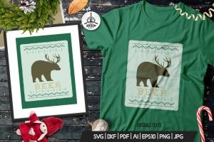 圣诞节主题T恤带鹿角黑熊印花图案设计模板 Funny Christmas Print T-Shirt Sweater. Beer Design插图(1)