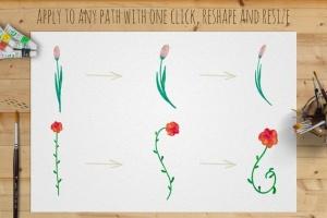 水彩花卉绘画图案&AI画笔笔刷 Illustrator Floral Art & Pattern Brushes插图(2)