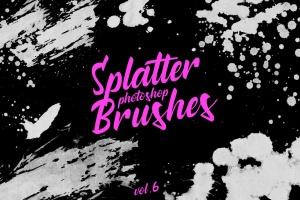 墨水飞溅泼墨图案纹理PS笔刷v6 Splatter Stamp Photoshop Brushes Vol. 6插图1
