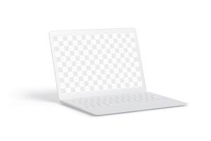 MacBook陶瓷黏土材质笔记本电脑UI设计预览左视图样机 Clay MacBook Mockup, Left View插图1