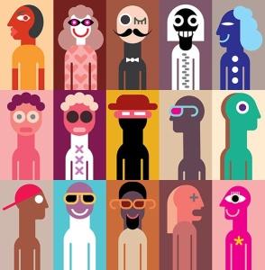 抽象手绘人物形象矢量插画素材 Set of People Portraits vector illustration插图3