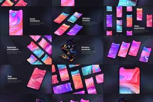黑色iPhone手机UI界面设计效果图等距网格样机模板 Dark iPhone Mockup插图1