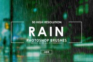 50款逼真雨天效果的PS笔刷 50 Rain Photoshop Brushes [abr]插图1