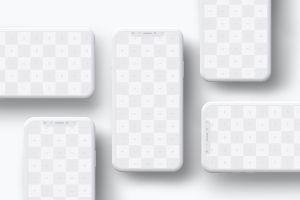 iPhone X智能手机屏幕界面设计多屏预览效果等距网格样机08 Clay iPhone X Mockup 08插图5