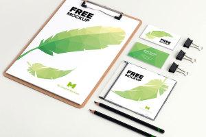 品牌视觉设计实物印刷效果预览等距网格办公用品样机模板02 Stationery PSD Mockup 02插图1