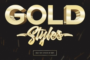 3D金色金属文本文字特效PSD分层模板 3D Gold Text Effects – 10 PSD插图1
