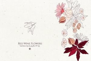 酒红色水彩手绘花卉PNG素材 Red Wine Flowers插图3