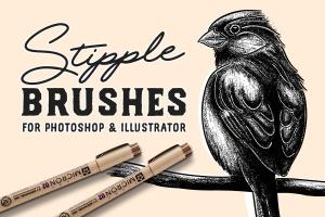 点画法艺术创作效果PS&AI绘画笔刷套装 Stipple Brush Set for Photoshop and Illustrator插图1