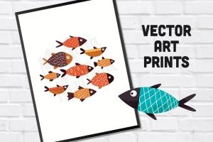 手绘鱼图案矢量图形设计素材 Fishes插图1