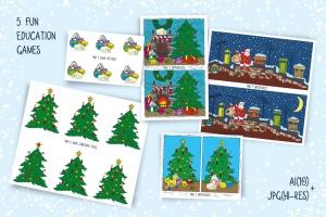 儿童风格圣诞主题矢量手绘设计素材 Christmas Games for Children插图4