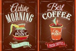 咖啡店复古海报模板 Retro poster coffee point插图2