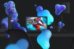 创意工作空间MacBook Pro设计展示样机 workspace desk clay mockup with macbook pro插图1