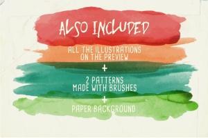 94种水彩艺术图案AI笔刷 Watercolor Vector Art Brushes插图3