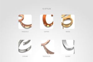 3D金属质感字体特效AI图层样式 Metallic Styles for Illustrator插图3