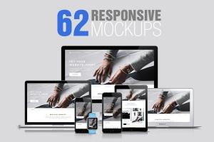 62款响应式网页设计预览样机套装 62 Responsive Mockups插图1