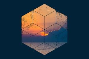 12个破损几何图形背景PSD分层模板 Instagram Textured Geometric Masks插图8