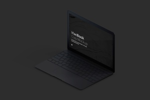 MacBook超极本屏幕演示右视图样机 Clay MacBook Mockup, Isometric Right View插图5