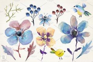 花朵、鸟儿、蝴蝶及乡村背景元素  Aquarelle blue flowers插图2