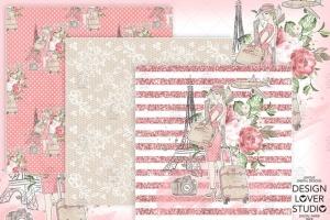 旅行花卉元素剪贴画素材合集 Travel woman digital paper pack插图3