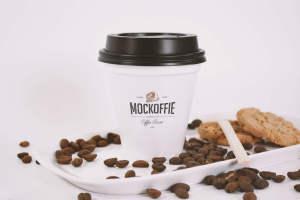 咖啡品牌VI设计咖啡杯样机模板 Sealed Coffee Cup Mockup With Cookies插图1