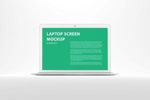 白色背景MacBook笔记本电脑演示样机 White MacBook Mockup插图1