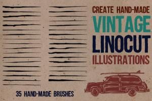 油毡浮雕画笔AI笔刷 Linocut Brushes for Adobe Illustrator插图(1)