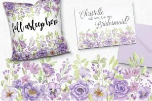 紫色水彩手绘花卉图案剪贴画PNG素材套装 Purple Passion: Watercolor Clip Art Bundle插图5