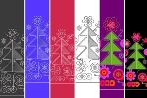 圣诞树线条艺术矢量插画素材 6 options of a Christmas Background插图8