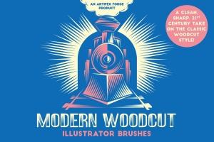 现代木刻设计风格AI笔刷 Modern Woodcut Brushes插图1