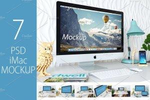 苹果一体机桌面显示样机模板 iMac Mockup (7 PSD) + Bonus插图1