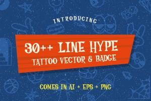 30+线条艺术纹身图案&徽章矢量图形素材 30++ Line Hype Tattoo Vector & Badge插图(1)