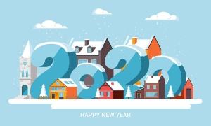 圣诞节&2020新年快乐主题矢量场景插画素材 Merry Christmas and and Happy New Year cards插图(3)