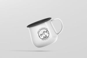 高分辨率圆形珐琅杯子样机 Round Enamel Mug Mockup插图4