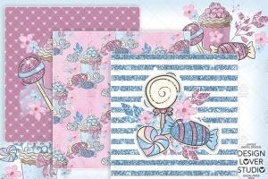 糖果女孩水彩花卉剪贴画合集 Candy Girl digital paper pack插图2