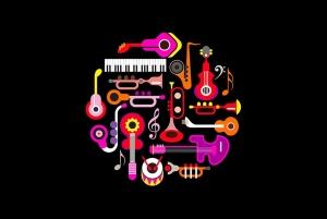霓虹设计风格音乐乐器主题圆形矢量插画 Musical Instruments Neon round shape vector design插图4