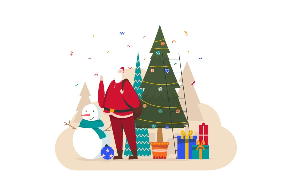 雪人/圣诞老人/圣诞树/礼物圣诞节主题插画设计素材 Christmas Illustration插图