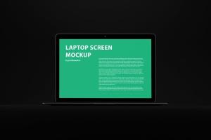 黑色背景MacBook Air笔记本电脑演示样机 Black MacBook Air Mockup插图1