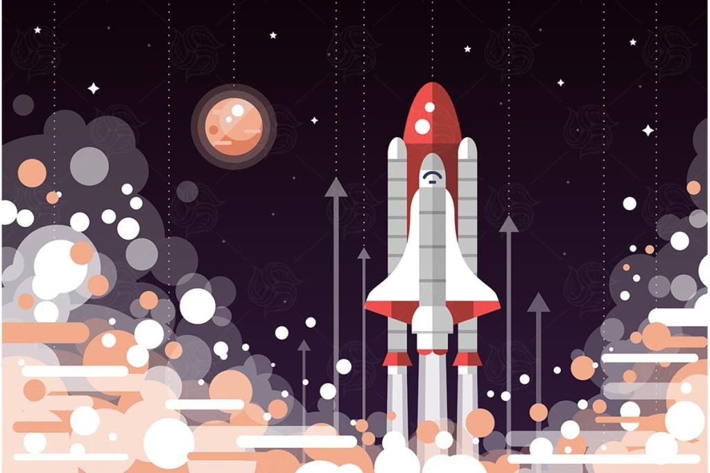 航天飞机扁平化设计矢量插画素材 Space shuttle launch – flat design illustration插图