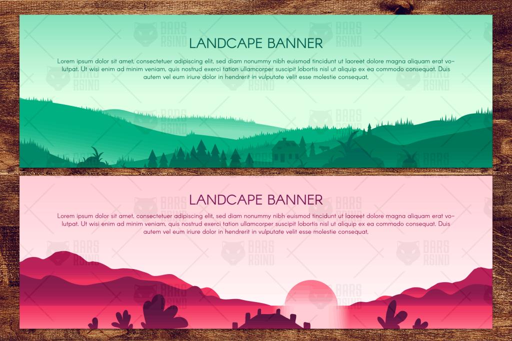 乡村郊外风景名胜全景矢量插画 Сountryside Scenic Panorama Illustrations插图