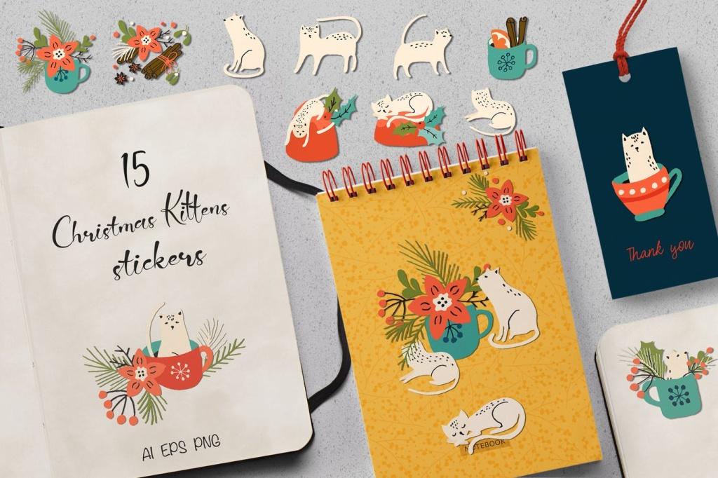 圣诞主题小猫动物贴纸/剪纸图案素材 Christmas Kittens Stickers插图