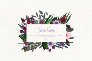 暗色手绘水彩花卉剪贴画PNG素材 Darker Flowers插图6